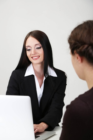 Recruiter checking candidate during job interview photo
