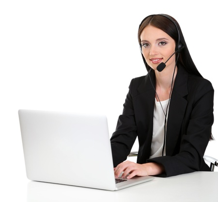Call center operator at work, isolated on white Stock Photo - 21526247