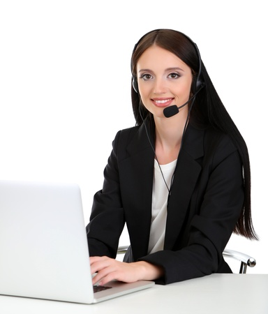 Call center operator at work, isolated on white Stock Photo - 21526248