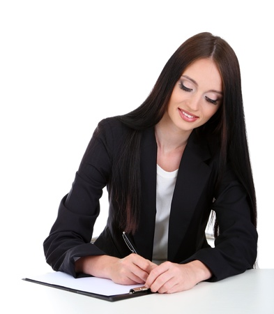 careerists: Young business woman writing, isolated on white