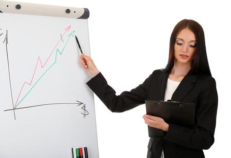 reasoning: Businesswoman presenting on whiteboard. Stock Photo