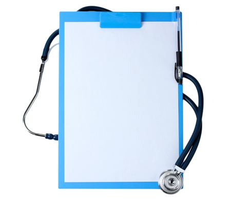 stethoscope and blue clipboard isolated on white Stock Photo - 20503117
