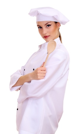 female chef: Portrait of young woman chef isolated on white Stock Photo