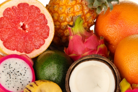 exotics: Composition of exotic fruits close-up background