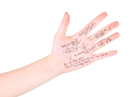 cheat: Cheat sheet on hand isolated on white