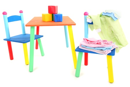 Small and colorful table and chairs for little kids isolated on white Stock Photo - 20647067
