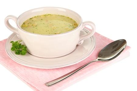 nourishing: Sopa nutritiva con vegetales en una bandeja aislada en blanco