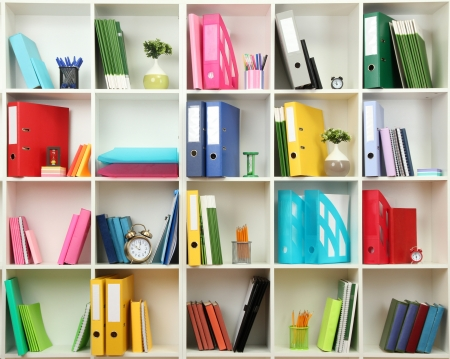 White office shelves with different stationery, close up Imagens - 20652992
