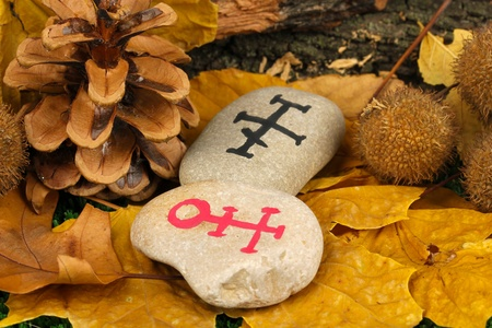 Fortune telling  with symbols on stones close up Stock Photo - 20653231