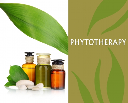 phytotherapy: Medicine bottles isolated on white Stock Photo