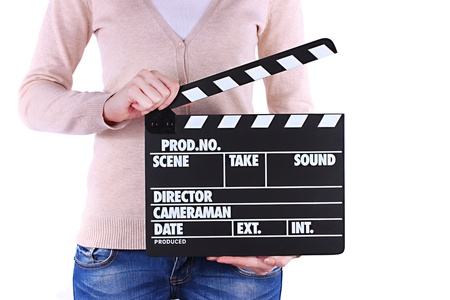 provide: Movie production clapper board in hands isolated on white Stock Photo