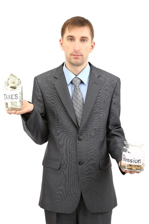 Young businessman with money isolated on white  photo