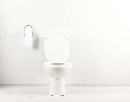 White toilet bowl and toilet paper in a bathroom Stock Photo