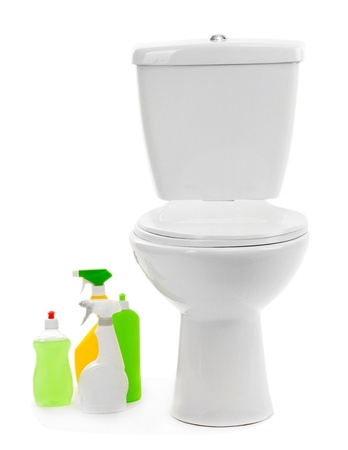 Toilet bowl and  cleaning supplies, isolated on white photo