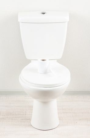 White toilet bowl with toilet paper in a bathroom Stock Photo - 20783213