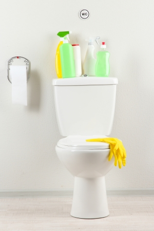 White toilet bowl and  cleaning supplies in a bathroom Stock Photo - 20783066