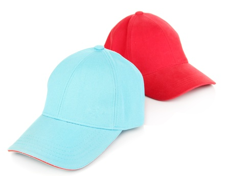 Red and blue caps cap isolated on white Stock Photo - 20797689