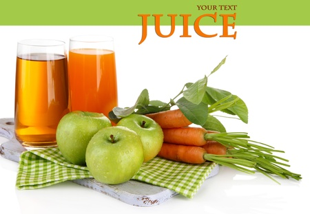Glasses of juice, apples and carrots, isolated on white photo