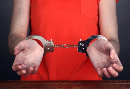 Prisoner in handcuffs on grey background photo