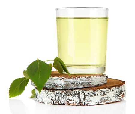 sap: Glasses of birch sap, isolated on white Stock Photo