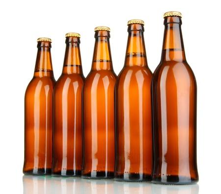brown bottle: Beer bottles isolated on white