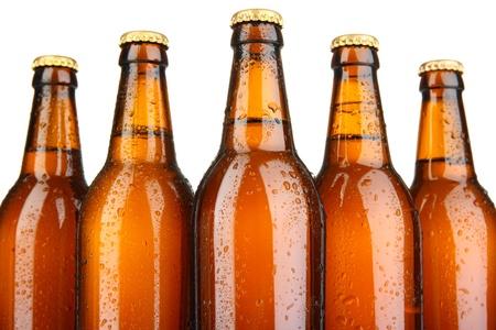 bottleneck: Beer bottles close up Stock Photo