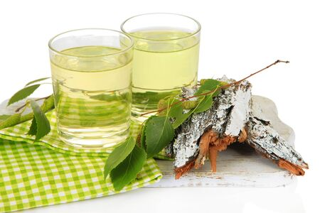 Glasses of birch sap, isolated on white Stok Fotoğraf