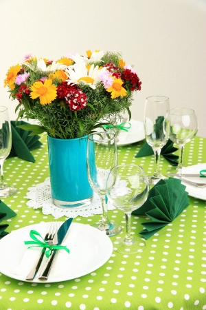 Beautiful table setting for breakfast Stock Photo - 20866779