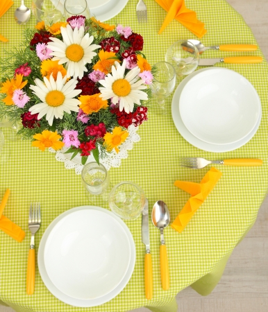 banquet table: Beautiful table setting for breakfast Stock Photo