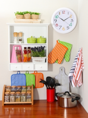 kitchen towel: Beautiful kitchen interior Stock Photo