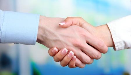 hand shake: Business handshake on bright background