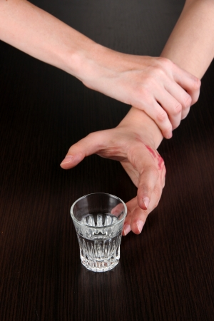 Hand prevent to take the alcohol drink photo