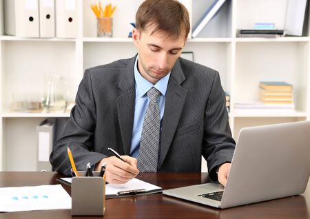 Young businessman in office at his workplace Stock Photo - 21520781