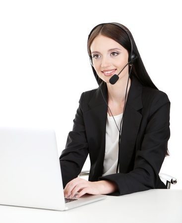 Call center operator at work, isolated on white Stock Photo - 21527921