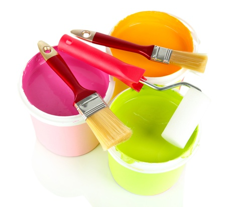 Set for painting: paint pots, brushes, paint-roller isolated on white Stock Photo - 20907730