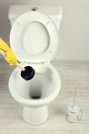 Woman uses a plunger to unclog a toilet bowl in a bathroom photo