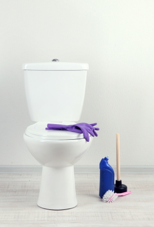 White toilet bowl and  cleaner bottle in a bathroom Stock Photo - 20908128
