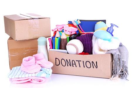Donatie doos geïsoleerd op wit Stockfoto