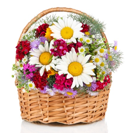 gift basket: Beautiful bright flowers in wicker basket isolated on white