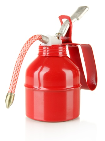 Red oil can, isolated on white Stock Photo - 20962836