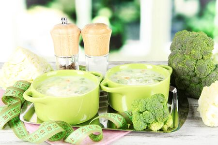 Cabbage soup in plates on metal tray on napkin on wooden table on window background photo
