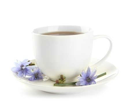 Cup of tea with chicory, isolated on white photo