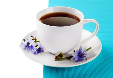 chicory coffee: Cup of tea with chicory, isolated on white Stock Photo