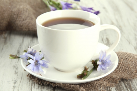substitute: Cup of tea with chicory, on wooden background Stock Photo