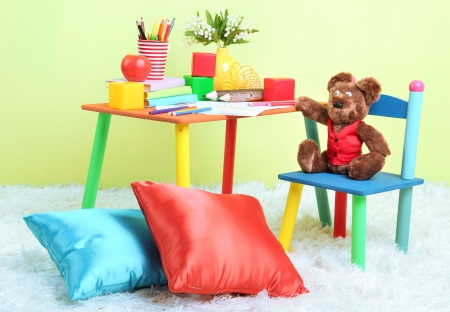 Modern childs room with equipment and toys photo