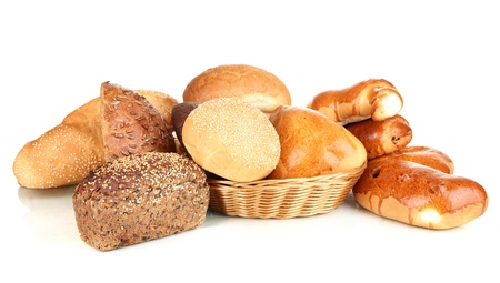 Variety of bread isolated on white photo