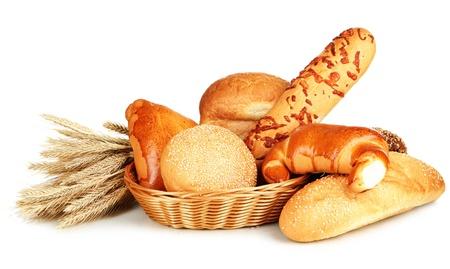 Variété de pain isolé sur blanc