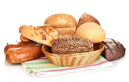 bakery products: Variety of bread isolated on white Stock Photo