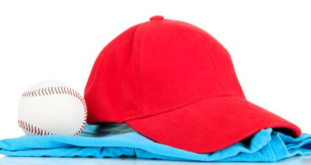 peaked: Red peaked cap isolated on white