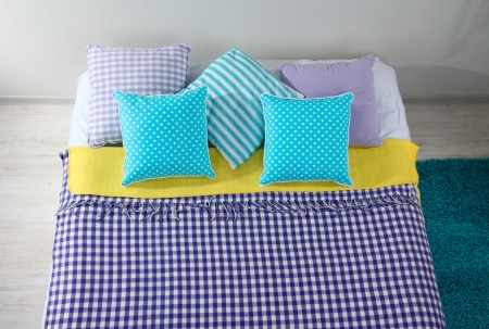 bedclothes: Bed in room top view close-up